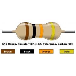 مقاومت 10 کیلو اهم 1/4 وات 5 درصد (بسته 10 تایی)