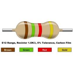مقاومت 1.5 کیلو اهم 1/4 وات 5 درصد (بسته 10 تایی)
