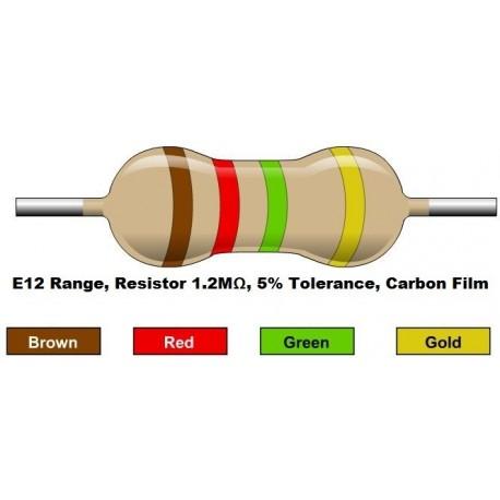 مقاومت 1.2 مگا اهم 1/4 وات 5 درصد (بسته 10 تایی)