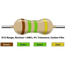 مقاومت 1.5 مگا اهم 1/4 وات 5 درصد (بسته 10 تایی)