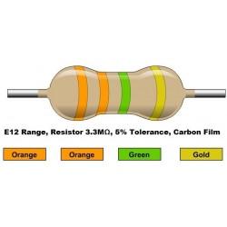 مقاومت 3.3 مگا اهم 1/4 وات 5 درصد (بسته 10 تایی)