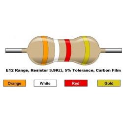 مقاومت 3.9 کیلو اهم 1/4 وات 5 درصد (بسته 10 تایی)