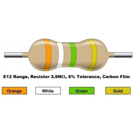 مقاومت 3.9 مگا اهم 1/4 وات 5 درصد (بسته 10 تایی)