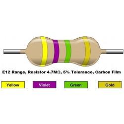 مقاومت 4.7 مگا اهم 1/4 وات 5 درصد (بسته 10 تایی)