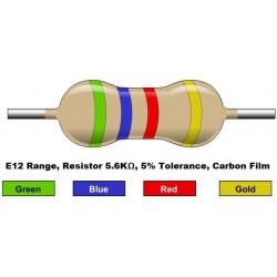 مقاومت 5.6 کیلو اهم 1/4 وات 5 درصد (بسته 10 تایی)