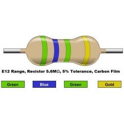 مقاومت 5.6 مگا اهم 1/4 وات 5 درصد (بسته 10 تایی)
