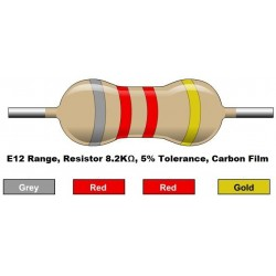 مقاومت 8.2 کیلو اهم 1/4 وات 5 درصد (بسته 10 تایی)