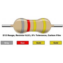 مقاومت 8.2 اهم 1/4 وات 5 درصد (بسته 10 تایی)