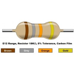 مقاومت 18 کیلو اهم 1/4 وات 5 درصد (بسته 10 تایی)