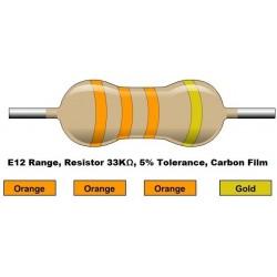 مقاومت 33 کیلو اهم 1/4 وات 5 درصد (بسته 10 تایی)