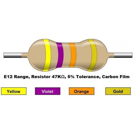 مقاومت 47 کیلو اهم 1/4 وات 5 درصد (بسته 10 تایی)