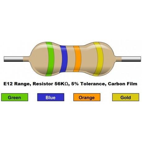 مقاومت 56 کیلو اهم 1/4 وات 5 درصد (بسته 10 تایی)