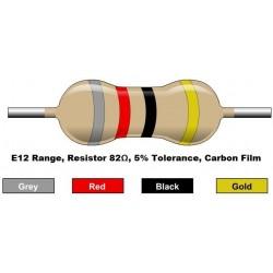 مقاومت 82 اهم 1/4 وات 5 درصد (بسته 10 تایی)