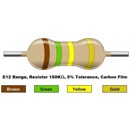 مقاومت 150 کیلو اهم 1/4 وات 5 درصد (بسته 10 تایی)