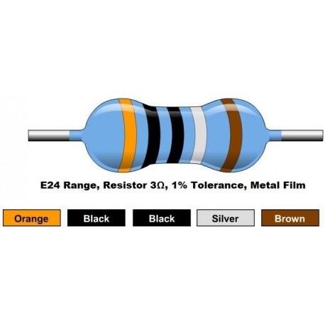 مقاومت 3 اهم 1/4 وات 1 درصد (بسته 10 تایی)