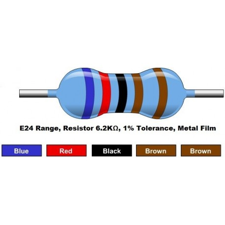 مقاومت 6.2 کیلو اهم 1/4 وات 1 درصد (بسته 10 تایی)