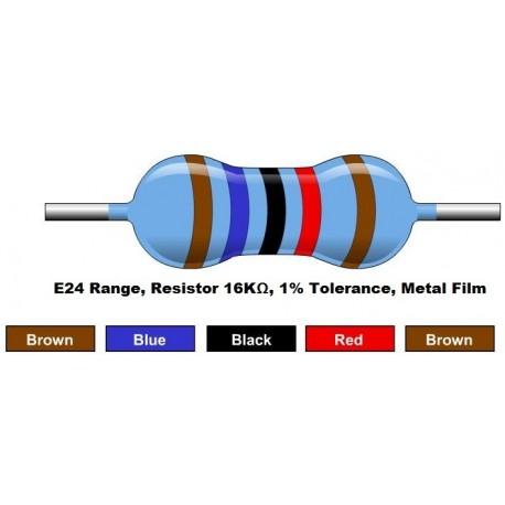 مقاومت 16 کیلو اهم 1/4 وات 1 درصد (بسته 10 تایی)