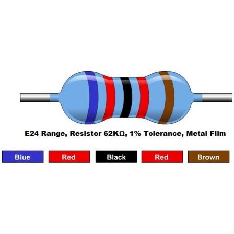 مقاومت 62 کیلو اهم 1/4 وات 1 درصد (بسته 10 تایی)