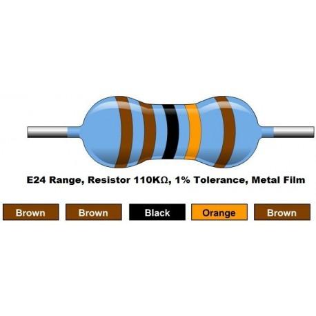 مقاومت 110 کیلو اهم 1/4 وات 1 درصد (بسته 10 تایی)