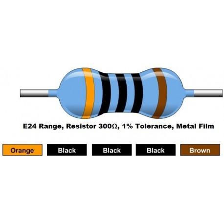 مقاومت 300 اهم 1/4 وات 1 درصد (بسته 10 تایی)
