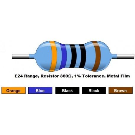 مقاومت 360 اهم 1/4 وات 1 درصد (بسته 10 تایی)