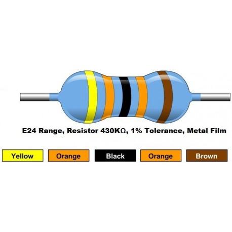 مقاومت 430 کیلو اهم 1/4 وات 1 درصد (بسته 10 تایی)