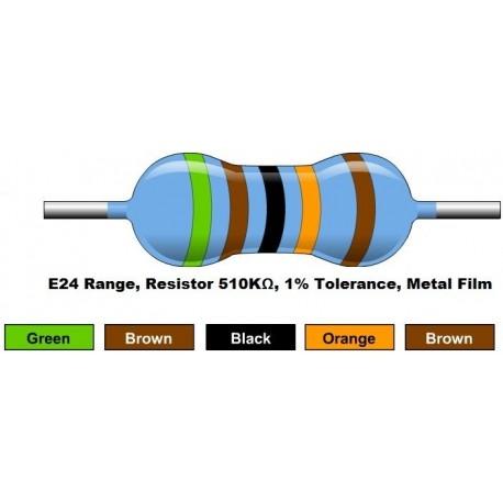 مقاومت 510 کیلو اهم 1/4 وات 1 درصد (بسته 10 تایی)