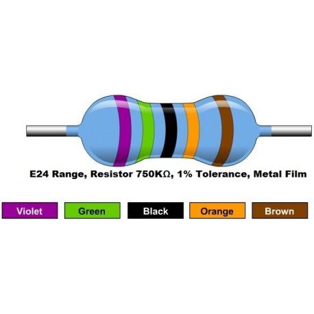 مقاومت 750 کیلو اهم 1/4 وات 1 درصد (بسته 10 تایی)