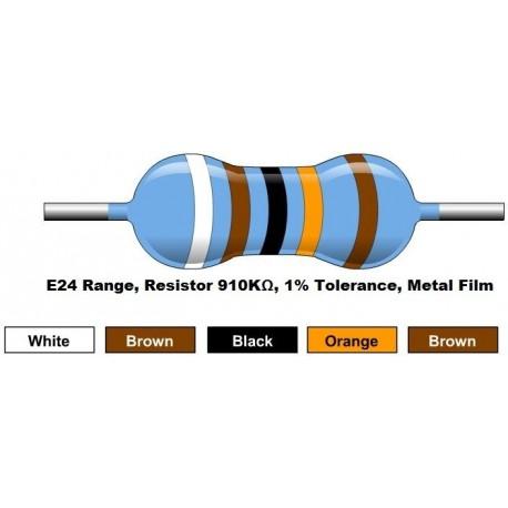 مقاومت 910 کیلو اهم 1/4 وات 1 درصد (بسته 10 تایی)