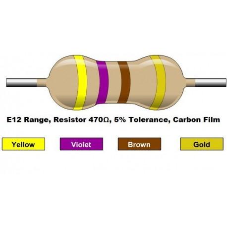 مقاومت 470 اهم 1/4 وات 5 درصد (بسته 10 تایی)