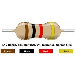 مقاومت 1 کیلو اهم 1/4 وات 5 درصد (بسته 10 تایی)