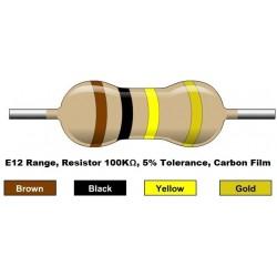 مقاومت 100 کیلو اهم 1/4 وات 5 درصد (بسته 10 تایی)