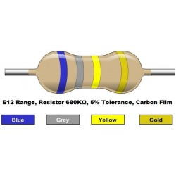 مقاومت 680 کیلو اهم 1/4 وات 5 درصد (بسته 10 تایی)
