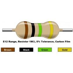 مقاومت 1 مگا اهم 1/4 وات 5 درصد (بسته 10 تایی)