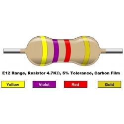 مقاومت 4.7 کیلو اهم 1/4 وات 5 درصد (بسته 10 تایی)
