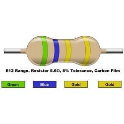 مقاومت 5.6 اهم 1/4 وات 5 درصد (بسته 10 تایی)