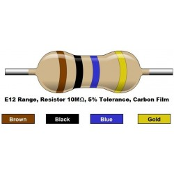مقاومت 10 مگا اهم 1/4 وات 5 درصد (بسته 10 تایی)