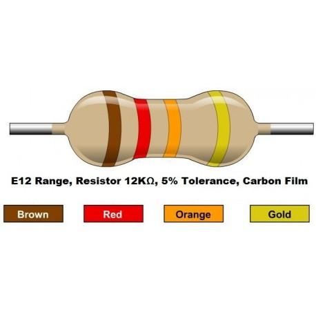 مقاومت 12 کیلو اهم 1/4 وات 5 درصد (بسته 10 تایی)