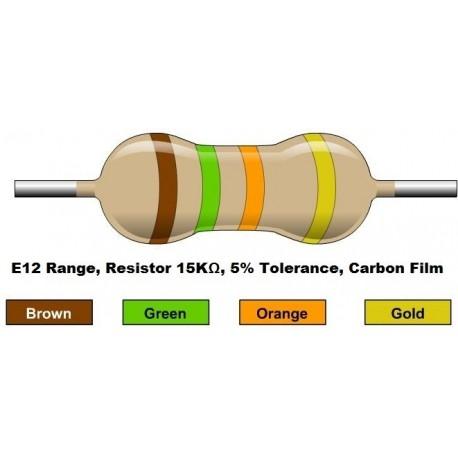 مقاومت 15 کیلو اهم 1/4 وات 5 درصد (بسته 10 تایی)