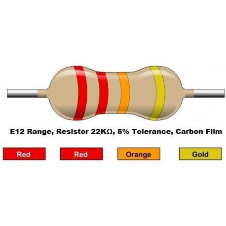 مقاومت 22 کیلو اهم 1/4 وات 5 درصد (بسته 10 تایی)