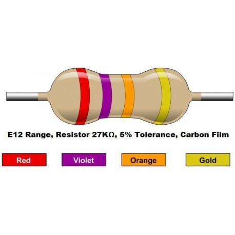 مقاومت 27 کیلو اهم 1/4 وات 5 درصد (بسته 10 تایی)