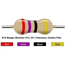مقاومت 27 اهم 1/4 وات 5 درصد (بسته 10 تایی)