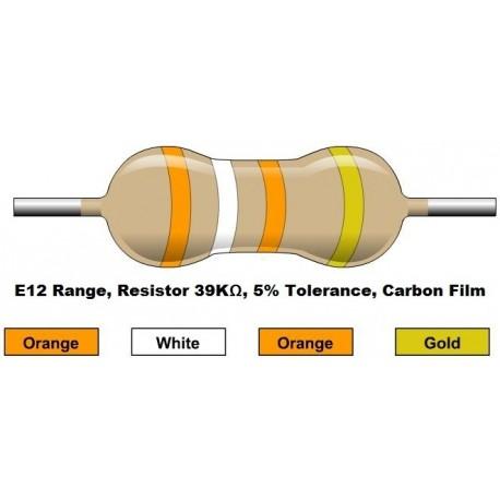 مقاومت 39 کیلو اهم 1/4 وات 5 درصد (بسته 10 تایی)