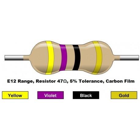 مقاومت 47 اهم 1/4 وات 5 درصد (بسته 10 تایی)