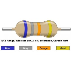 مقاومت 68 کیلو اهم 1/4 وات 5 درصد (بسته 10 تایی)