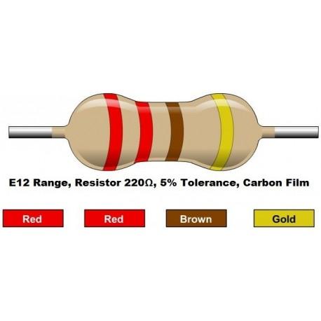 مقاومت 220 اهم 1/4 وات 5 درصد (بسته 10 تایی)