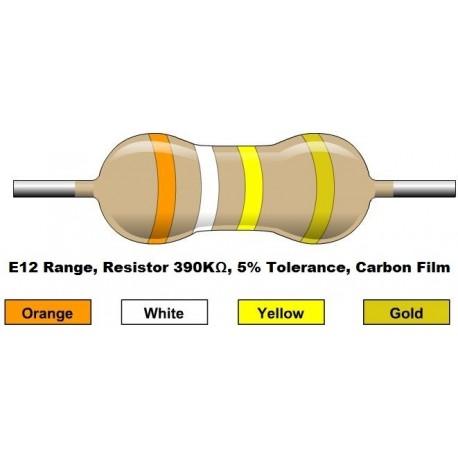 مقاومت 390 کیلو اهم 1/4 وات 5 درصد (بسته 10 تایی)