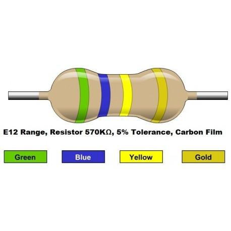 مقاومت 570 کیلو اهم 1/4 وات 5 درصد (بسته 10 تایی)