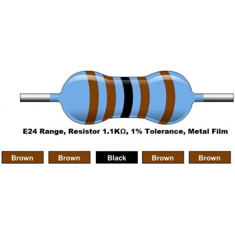 مقاومت 1.1 کیلو اهم 1/4 وات 1 درصد (بسته 10 تایی)