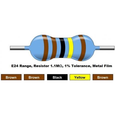 مقاومت 1.1 مگا اهم 1/4 وات 1 درصد (بسته 10 تایی)
